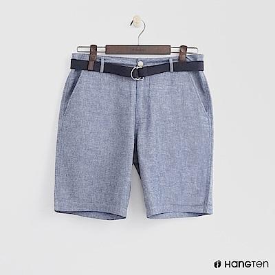 Hang Ten - 腰帶造型牛仔刷色短褲 - 藍