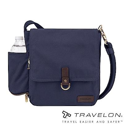 Travelon美國防盜包 防割鋼網休閒旅行斜背包TL-33305-18靛藍/帆布包