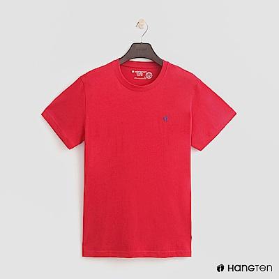 Hang Ten - 男裝 - 有機棉-圓領純色T恤 - 紅