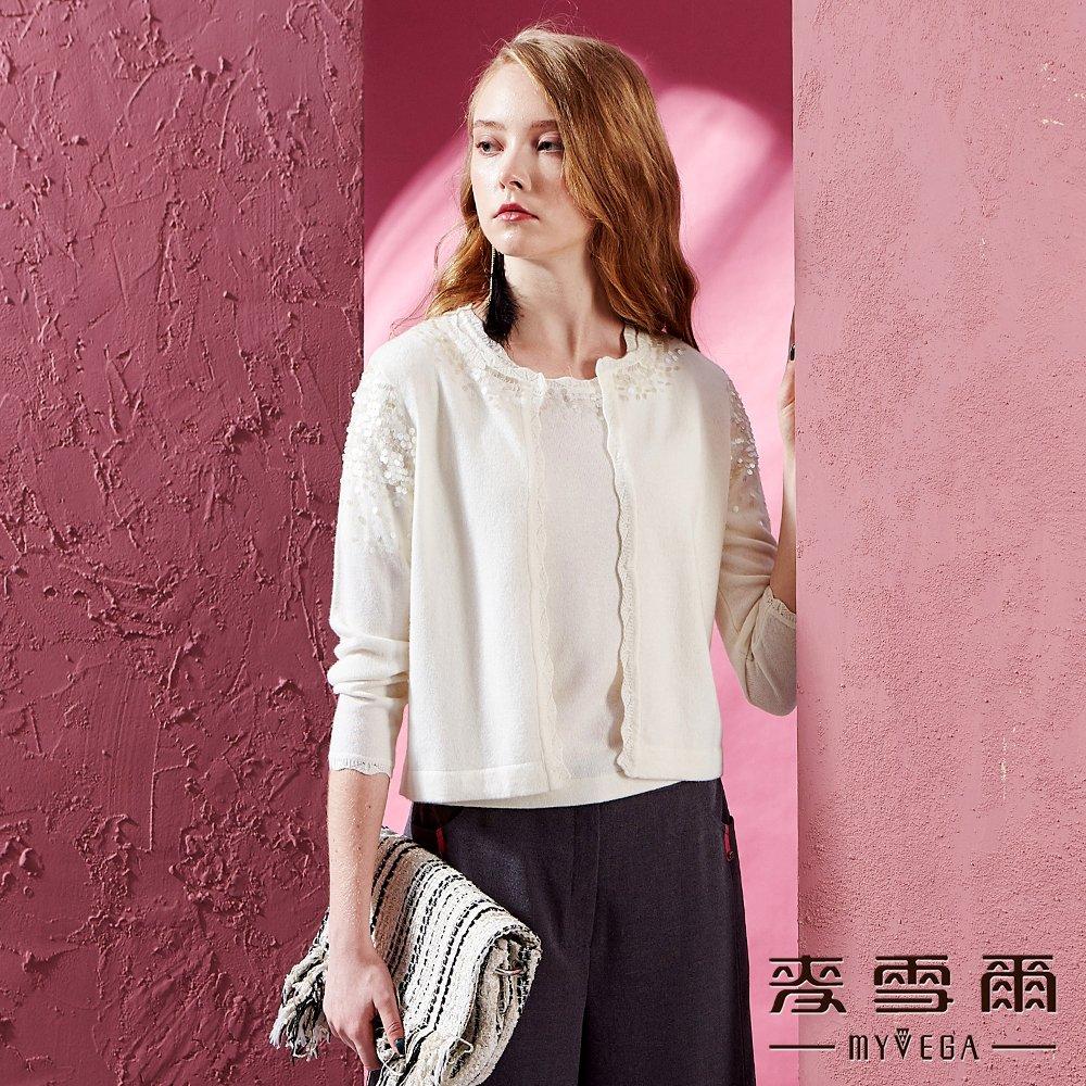 【麥雪爾】羊絨X羊毛波浪織紋亮片針織-白