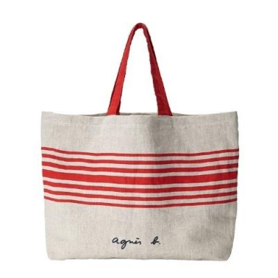 agnes b. Voyage  Cote de France麻質托特包-巴斯克 (紅)