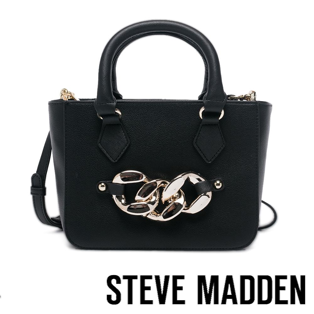 STEVE MADDEN-BCHAINZ 飾扣手提側背包-黑色