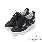 CUMAR悠遊輕井澤 - 牛仔異材質結合內增高綁帶休閒鞋-黑