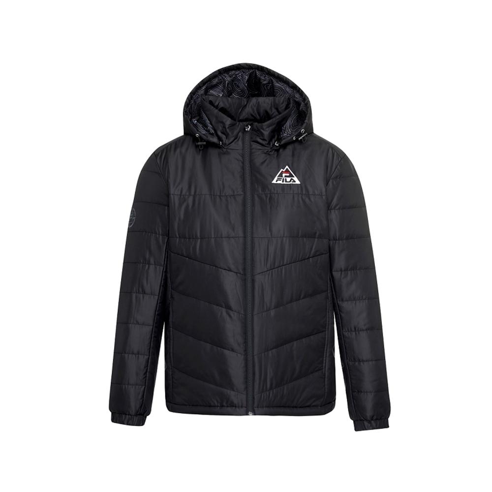 FILA 男平織鋪棉外套-黑 1JKU-5104-BK