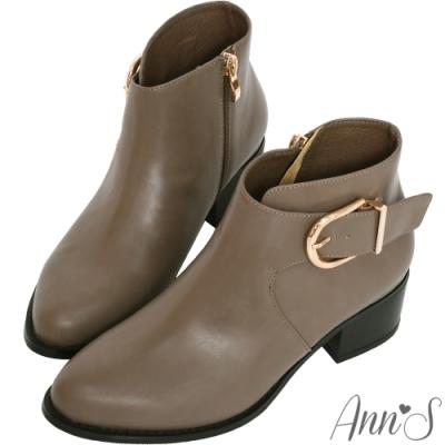 Ann'S 前V弧度側邊造型D扣粗跟短靴-灰