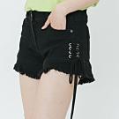 H:CONNECT 韓國品牌 女裝-抽繩造型不收邊短褲-黑