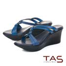 TAS蜥蜴紋立體雙結繫帶楔型涼拖鞋-靜謐藍