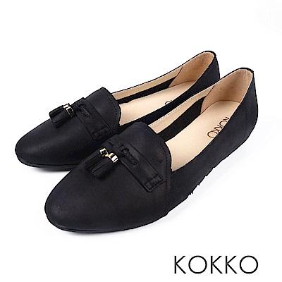 KOKKO -與長夜共舞小流蘇柔軟樂福鞋-無盡黑