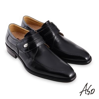 A.S.O 職場通勤勁步健康鏡面魔鬼氈紳士鞋-黑