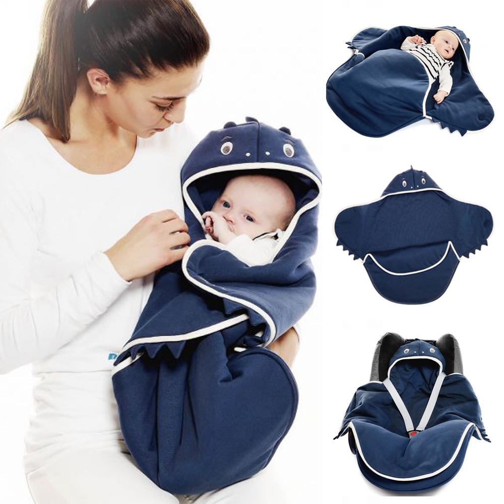 海天使輕巧連帽抱袋-可愛動物款/海龍藍