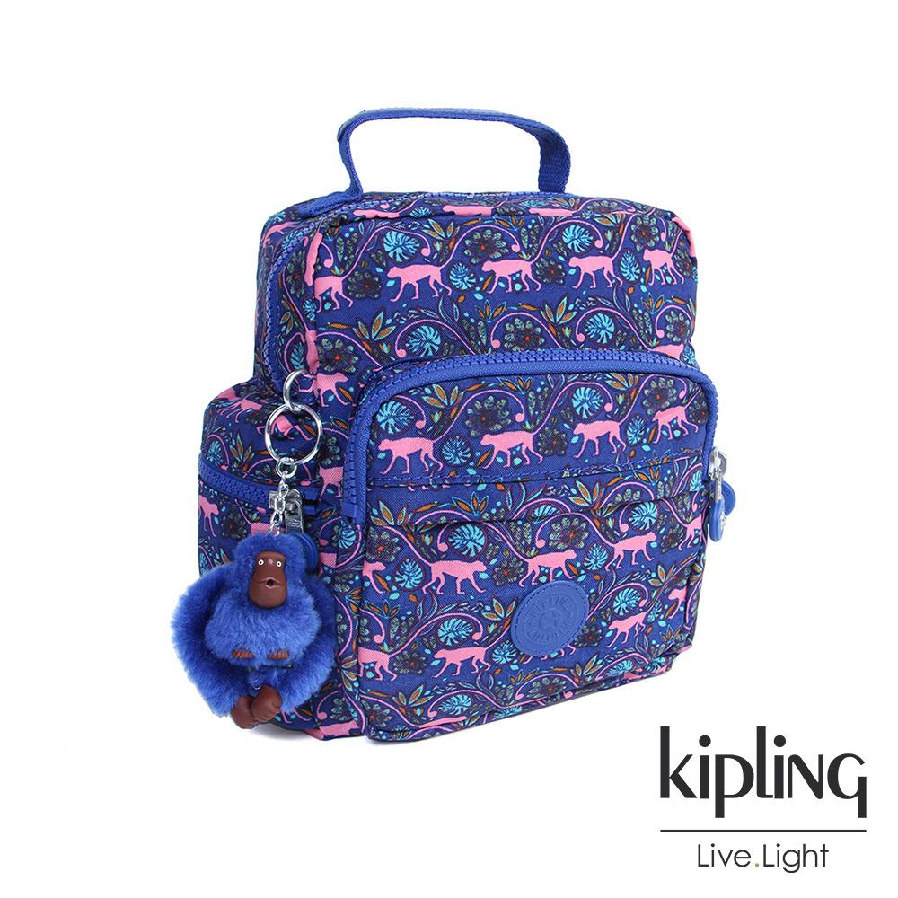 Kipling後背包粉色猴子叢林印花-小