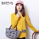 betty's貝蒂思 下擺特殊剪裁微印花T-shirt(共二色)
