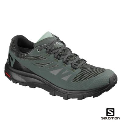 Salomon 男 GORETEX 低筒登山鞋 OUTline 灰綠