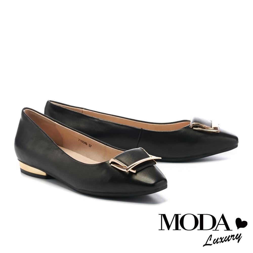 低跟鞋 MODA Luxury 都會典雅金屬梯形釦全真皮小方楦低跟鞋-黑