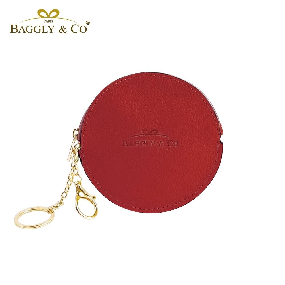法國BAGGLY&CO質感真皮荔枝紋手工拉鍊圓形零錢包(三色)