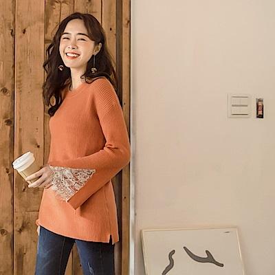 iMODA STAR-臧芮軒。純色包芯紗袖開衩蕾絲拼接綁帶針織長袖毛衣