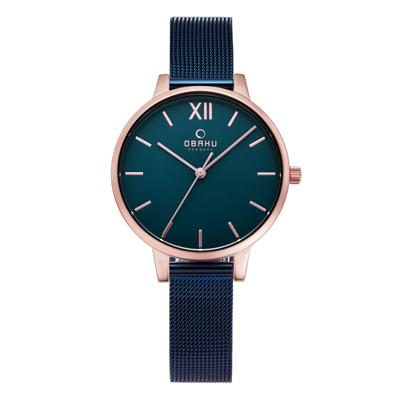 OBAKU 現代兼具經典羅馬數字女性腕錶-藍-V209LXVLML