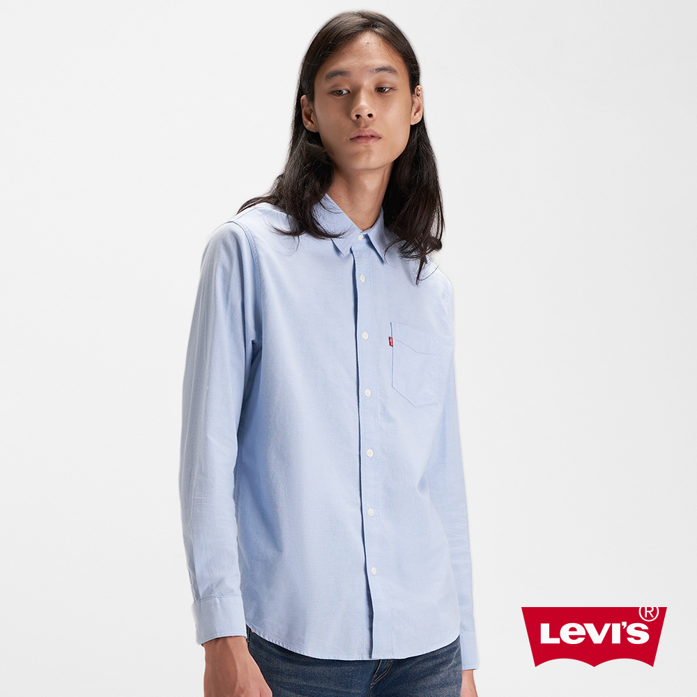Levis 男款 長袖襯衫 質感靛藍 單口袋
