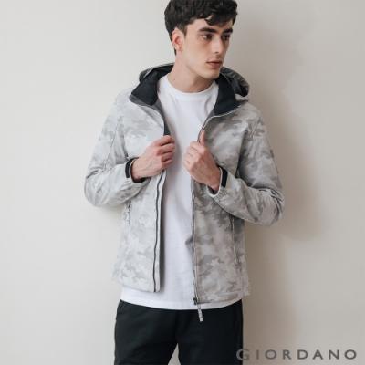 GIORDANO 男裝Softshell三合一高機能高領可拆式連帽外套-93白灰迷彩
