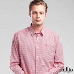 oillio歐洲貴族 長袖純棉休閒襯衫 簡約素面 紳士口袋 紅色