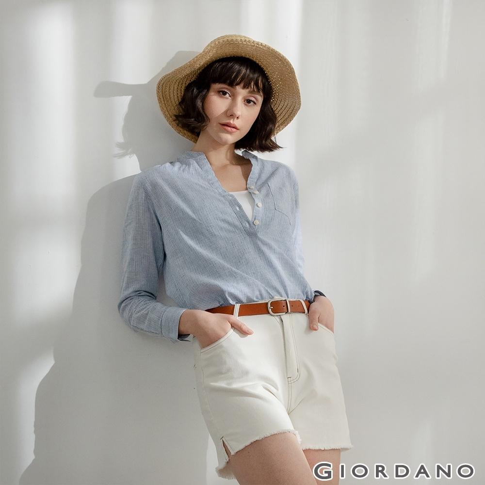 GIORDANO  女裝亨利領棉麻襯衫 - 63 海軍藍X藍白