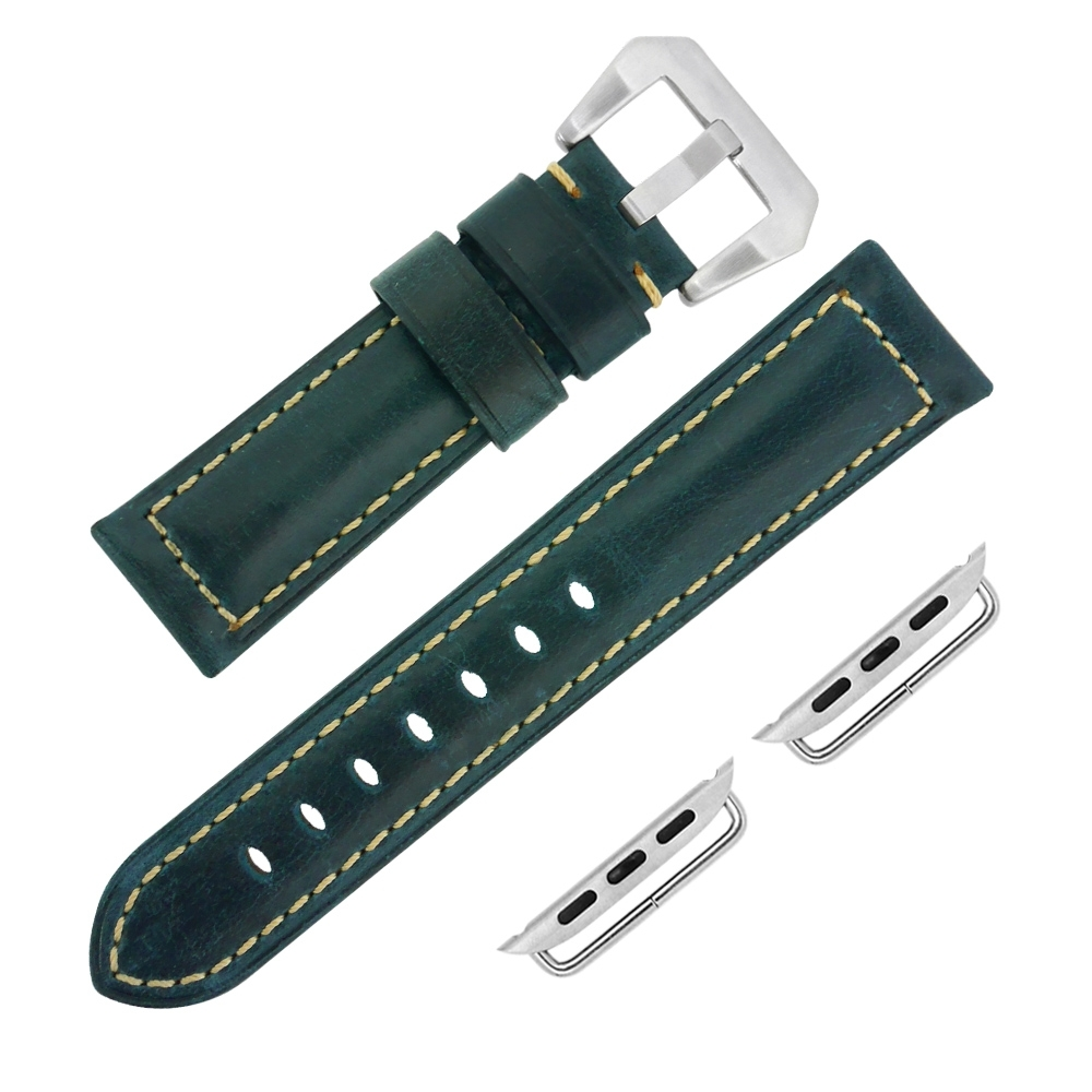 Apple Watch 蘋果手錶替用錶帶 復刻百搭 真皮錶帶-深藍綠