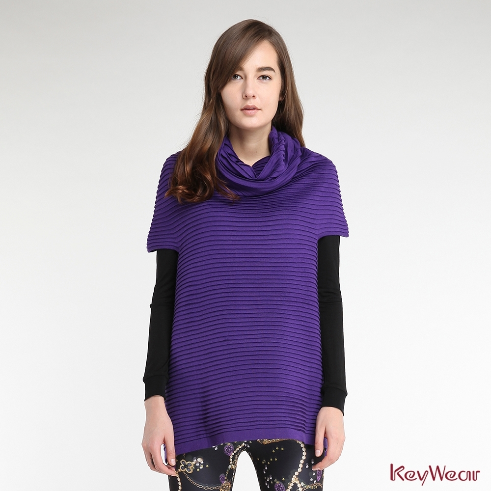 KeyWear奇威名品    特殊工藝A-line長版針織毛衣-紫色