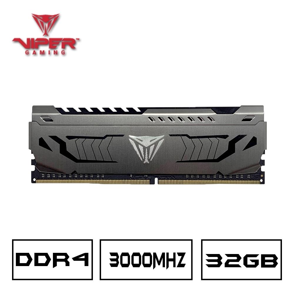 VIPER蟒龍 STEEL DDR4 3000 32GB桌上型記憶體