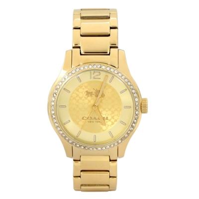 COACH金色C Logo水鑽鑲邊不鏽鋼時尚腕錶/35mm