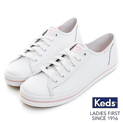 Keds KICKSTART 時尚皮革綁帶休閒鞋-粉紅