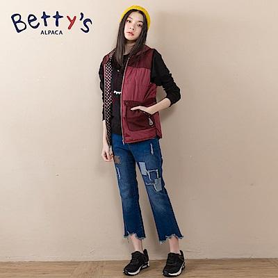 betty's貝蒂思 方塊造型刺繡抽鬚牛仔褲(深藍) @ Y!購物