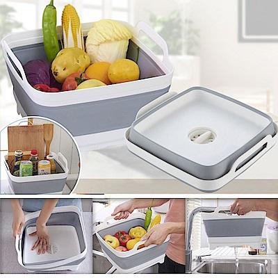 [EZlife]矽膠折疊水槽收納洗菜瀝水籃