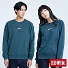 買一送一 EDWIN LOGO繡花內刷毛 厚長袖T恤-中性-橄欖綠