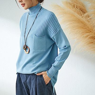 慢 生活 領坑條口袋針織衫-藍/黃