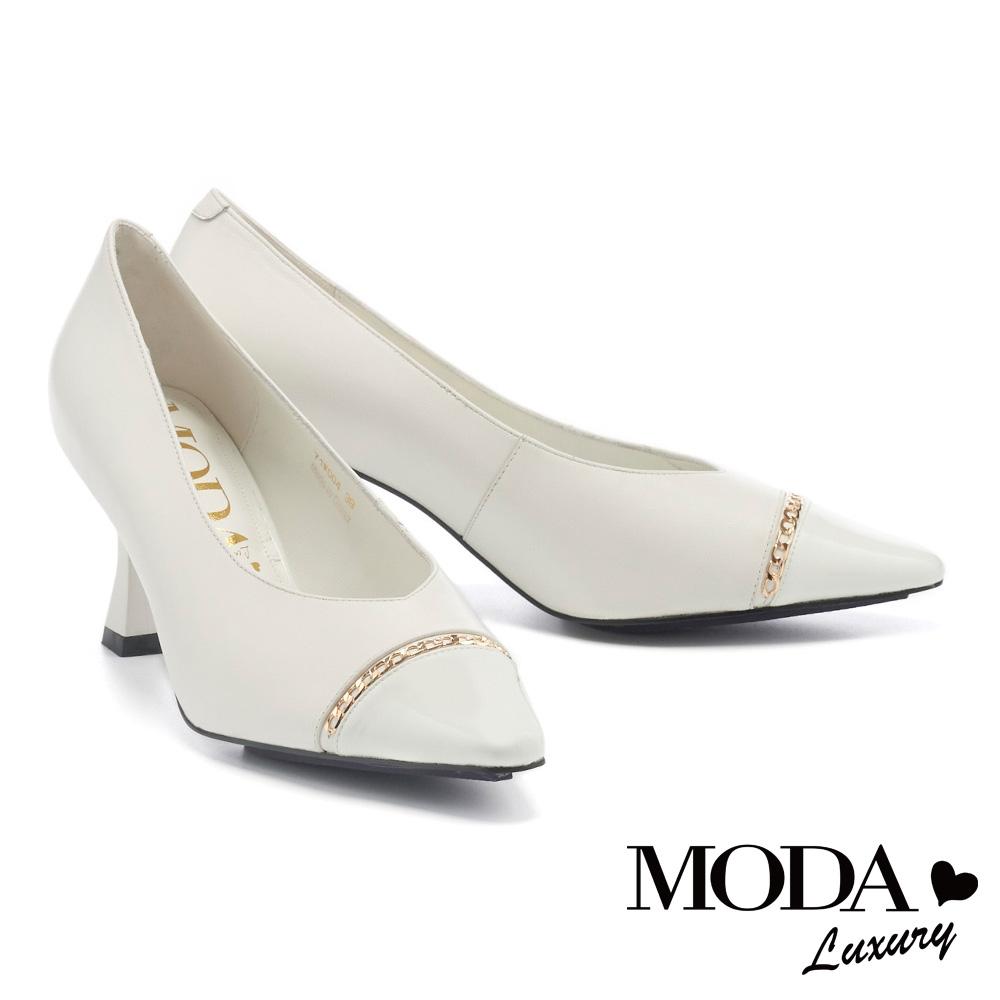 高跟鞋 MODA Luxury 時髦個性金鏈材質拼接尖頭高跟鞋-白