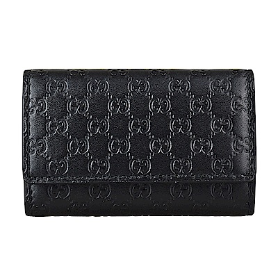 GUCCI經典Guccissima系列雙G壓紋迷你LOGO牛皮六鉤三折釦式鑰匙包(黑)