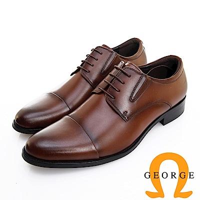 GEORGE 喬治皮鞋 職人系列 橫飾側V切口繫帶紳士鞋 -咖