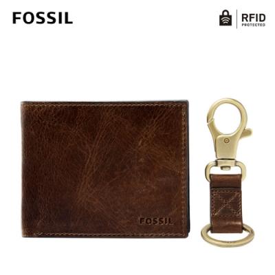 FOSSIL DERRICK 真皮RFID防盜證件格零錢袋皮夾真皮鑰匙圈禮盒-深棕色 MLG0652201