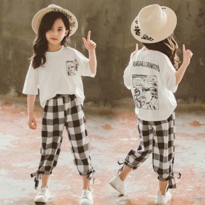 小衣衫童裝 中大童夏季漫畫短袖上衣+方格七分褲套裝1090327