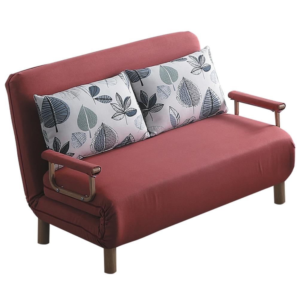 文創集 圖尼亞 現代咖棉麻布雙人機能沙發/沙發床(拉合式沙發/沙發床二用設計)-125x202x28cm免組
