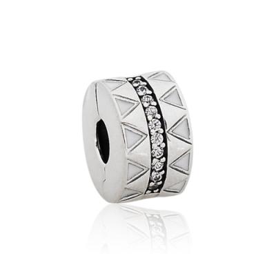 Pandora 潘朵拉 魅力琺瑯鑲鋯幾何造型 夾扣式純銀墜飾 串珠