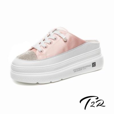 T2R-正韓空運-增高鞋涼鞋拖鞋真皮緞面厚底鞋-增高6公分-粉