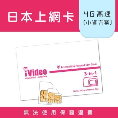 iVideo日本上網卡 SIM卡 4天 吃到飽 【小資方案】