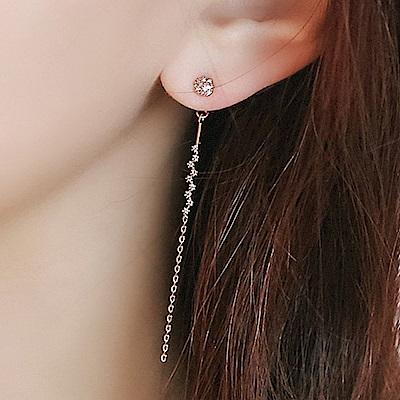 梨花HaNA 韓國925銀輕奢女子溫柔鑲鑽直線耳環