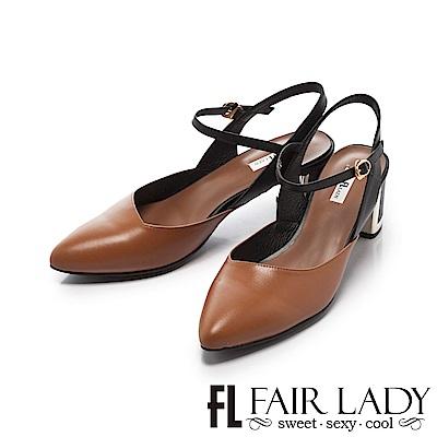 Fair Lady 優雅小姐Miss Elegant 尖頭金屬粗跟涼鞋 棕