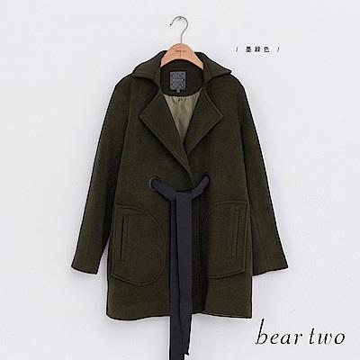 beartwo 禮物綁帶翻領長版毛呢外套(墨綠色)