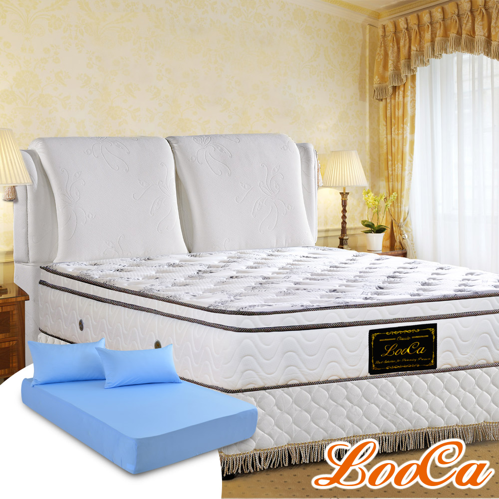 (618特惠組)LooCa 厚乳膠天絲三線獨立筒床-雙人5尺