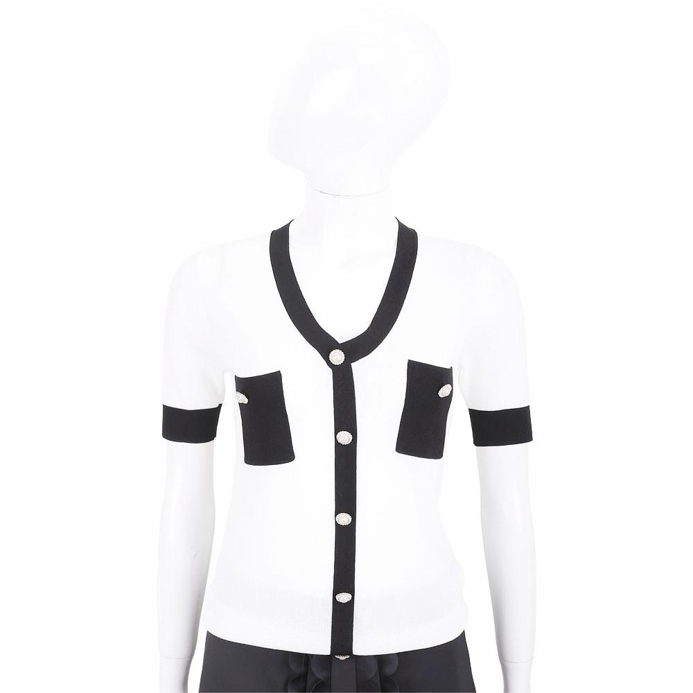 EDWARD ACHOUR PARIS 珍珠釦白底拼色短袖針織外套