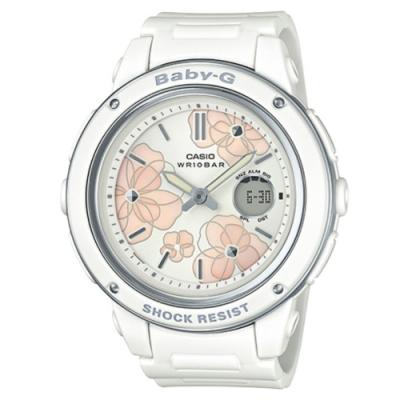 BABY-G-花仙子迷人大錶面設計休閒錶-白(BGA-150FL-7A)/47.5mm