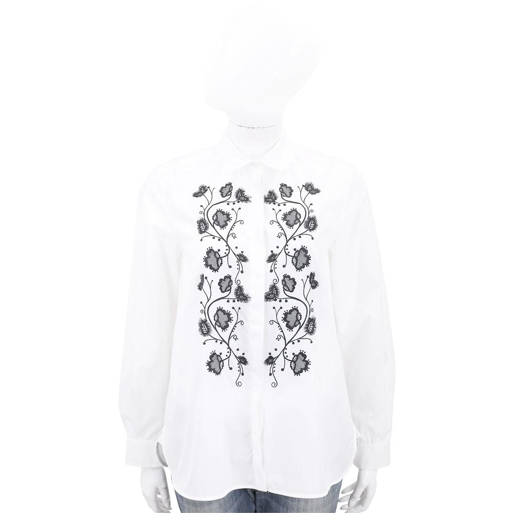 Max Mara-WEEKEND 花朵刺繡白色長袖襯衫